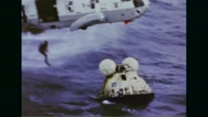 US Marine helicopter rescuing astronauts from space capsule Stock Footage