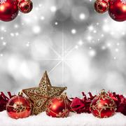 Funds with traditional christmas decoration and christmas holidays Stock Photos