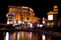 Famous Las Vegas Strip with Paris and Planet Hollywood Casinos Stock Photos