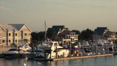 Zoom out from wrightsville beach marina, nc, usa Stock Footage