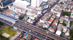 Speed video high view of traffic and building Stock Footage