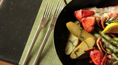 Lobster dinner with vegetables, pan right and left Arkistovideo