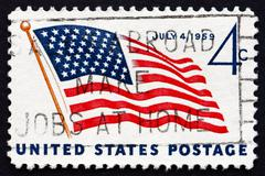 Postage stamp USA 1959 Flag and White House - stock photo