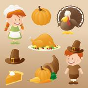 thanksgiving celebration - stock illustration