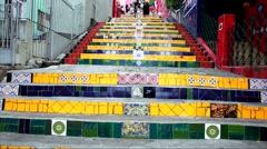 Escadaria Selaron in Rio de Janeiro, Brazil. Stock Footage