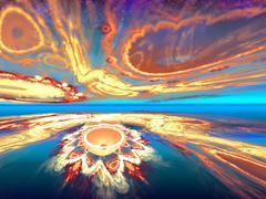shining fantastic orange horizon - stock illustration