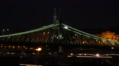 Liberty or Freedom Bridge in Budapest filmed by night Stock Footage