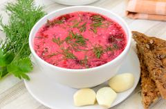 Red borscht with sour cream and dill Stock Photos