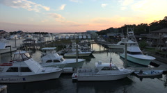 Wrightsville beach marina at sunset, nc, usa Stock Footage