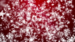 Snowflakes and Stars on a Red Background 2 - stock footage