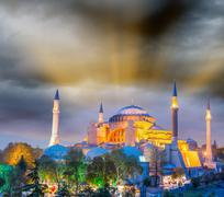 magnificent sunset view of hagia sophia, istanbul - turkey - stock photo