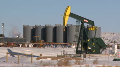 fracking pumpjacks - stock footage