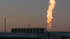 Fracking gas flare Stock Footage