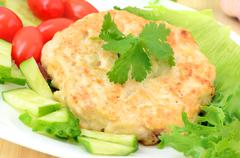 Chicken cutlet on the plate Stock Photos