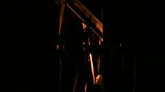 Pumpjack at night Stock Footage