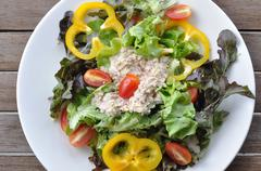 Tuna salad with many vegetables on white plate, top view. Stock Photos
