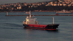 Istanbul Turkey bulk ship Sultan Atasoy Bosporus Strait 4K 094 Stock Footage