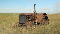 Old tractor in Saskatchewan, Canada. Stock Footage