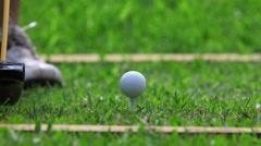 Golf strike - Golfer hitting a ball - Close up Stock Footage