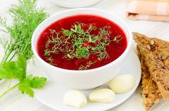 Stock Photo of red borscht with dill