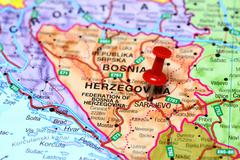 Sarajevo pinned on a map of europe - stock photo