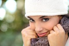 Beautiful arab woman portrait warmly clothed Stock Photos