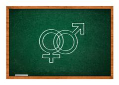 Male and female sex symbol on green chalkboard Stock Photos