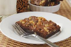 Brownie with nuts Stock Photos