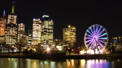 Ferris Wheel and City Scape HD Melbourne Timelapse Loopable Stock Footage