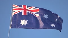 Australian Flag Flying Stock Footage