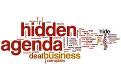 Hidden agenda word cloud Stock Illustration