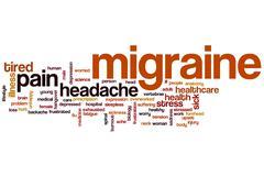 migraine word cloud - stock illustration