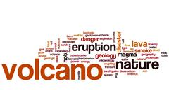 volcano word cloud - stock illustration