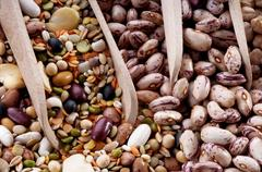 spoons full of pulses and beans - stock photo