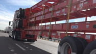 Stock Video Footage of 4K Empty Truck Carrier Transport Drives Highway