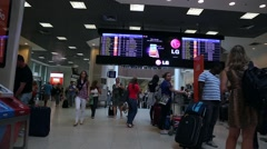 Passengers walk through Santos Dumont Airport in Rio de Janeiro. Stock Footage