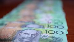 Australian 100 dollar bills notes HD Stock Footage