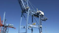 Shipping gantry on cape fear river, wilmington port, nc, usa Stock Footage