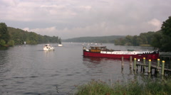 Boats on the river Havel in Wannsee region of Berlin Stock Footage