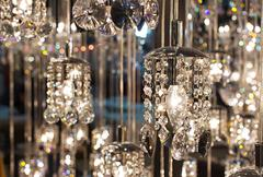 Closeup crystal chandelier Stock Photos