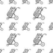 Monochrome vector background for golf bag Stock Illustration