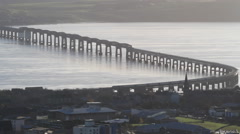 Timelapse of Train crossing Tay Rail Bridge Dundee Scotland Stock Footage