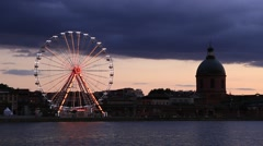 The Ferris Wheel in Toulouse is located on Pont Saint-Pierre Stock Footage