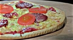 Pepperoni pizza rotation. uhd sony 4k shoot Stock Footage
