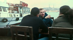 Group of Turkish Friends Drinking Cay, Traditional Tea Stock Footage
