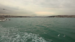Crossing Bosphorus on Ferry Boat Stock Footage