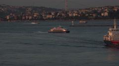 Istanbul Turkey bulk ship Sultan Atasoy ferry Bosporus Strait 4K 095 Stock Footage