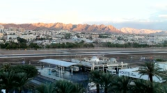 Outskirts of Eilat  at morning on the mountains of Arava desert background Stock Footage