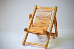 Single wood chair with black vignette. Stock Photos
