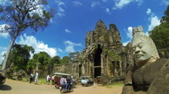 Time lapse of Angkor Thom South Gate with tourists and traffic. Cambodia. Stock Footage